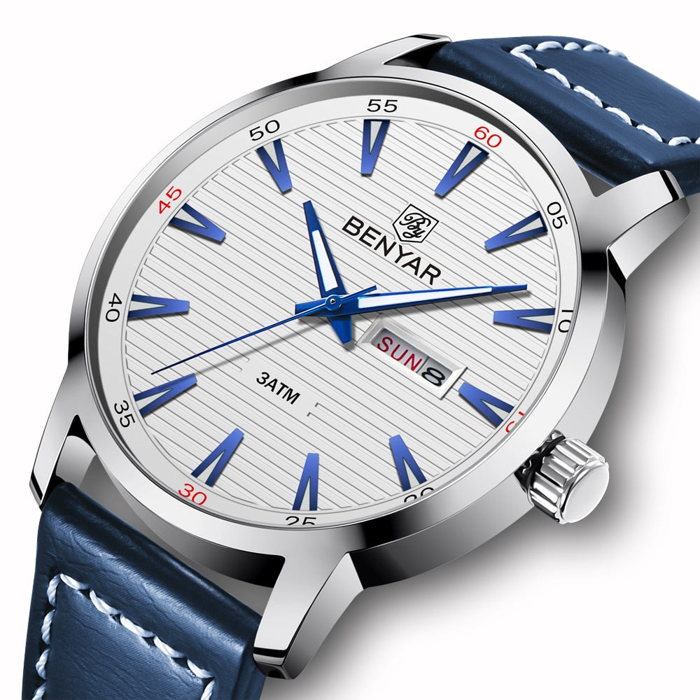 BENYAR Men's Automatic Quartz Watch Week Date Display