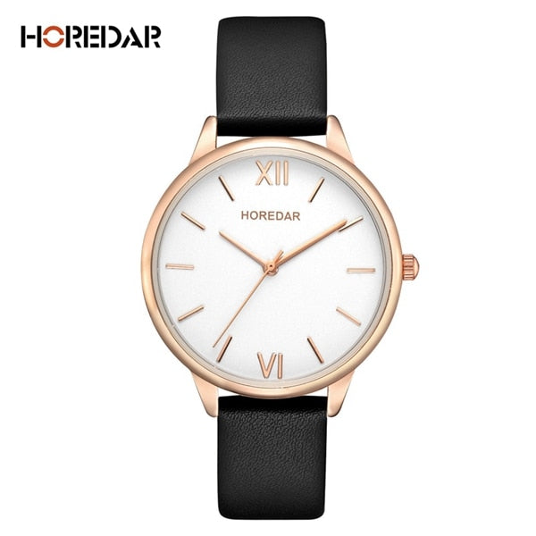 Women's High Quality Leather Wrist Watch Fashion Slim Quartz Casual Wristwatch