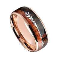 Rose Gold IP Tungsten Wedding Band with Double Wood And Steel Arrow Inlays