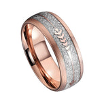 Rose Gold IP Tungsten Wedding Band With Gold Steel Arrow And White Meteorite Inlays