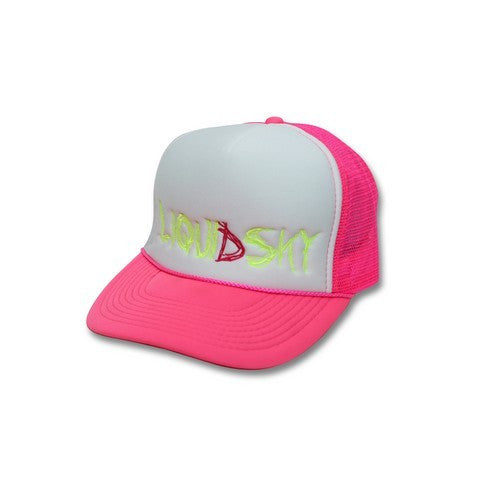 Scribbly Pink/Neon Yellow Trucker Hat