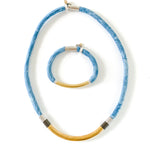 {1 Left} OLIVIA & ZOEY SET indigo dyed cotton necklace and bracelet to benefit Every Mother Counts