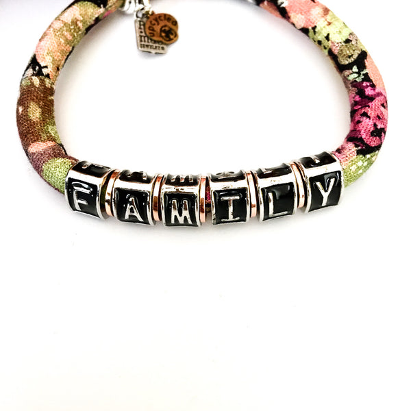 Power Word Bracelet: upcycled Betsy Olmsted moss print cotton bracelet
