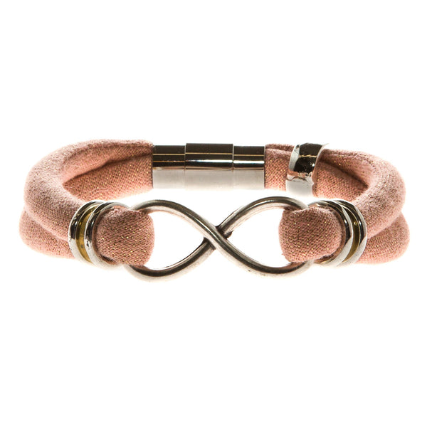 2 OF A KIND REMAIN: JOHANNA infinity bracelet in organic pink metallic cotton