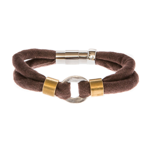 {ONLY 2 AVAILABLE} Limited Edition Statement Bracelet: MAGGIE 2-band bracelet in organic brown linen