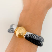 NANCY 2-band upcycled black and white plaid flannel bracelet