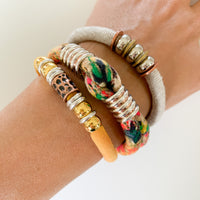 FAYE upcycled tie-dyed Betsy Olmsted cotton bracelet to benefit Every Mother Counts