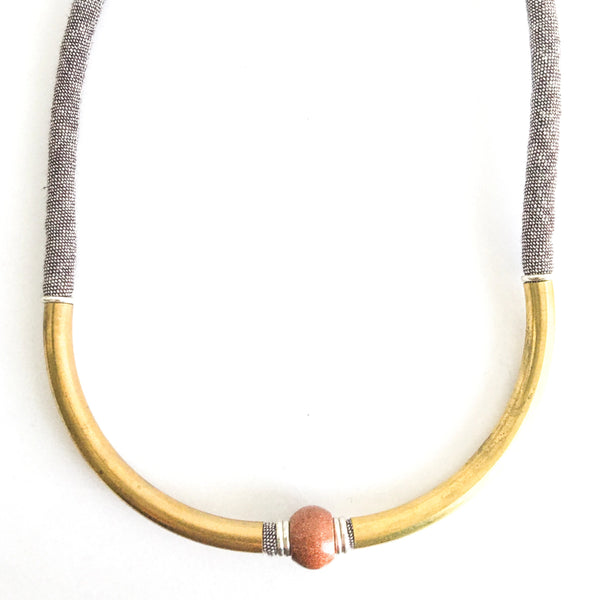 1 OF A KIND NECKLACE: organic brown linen with goldstone