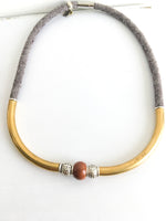 One of a kind:  organic brown linen with hammered silver and goldstone