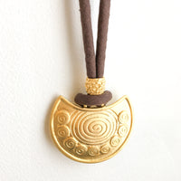 One of a Kind Necklace: organic brown linen with gold medallion