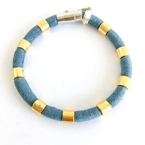 LAST ONE: organic dusty blue with gold beads