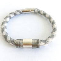 FLASH SALE: organic gray gingham cotton bracelet