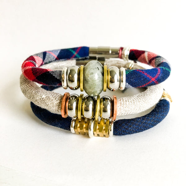 NEW Limited Edition Bracelet Set: NORAH plaid organic fabric bracelet set