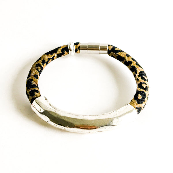 {2 left} Limited Edition Bracelet: TINA leopard print fabric bracelet