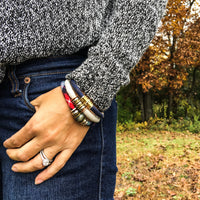 {1 left} Limited Edition Bracelet Set: NORAH plaid organic fabric bracelet set