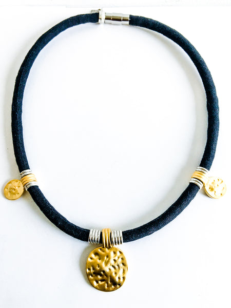NEW Limited Edition: AMY organic black linen necklace