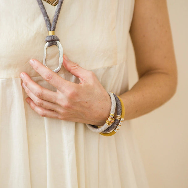 organic fabric stacking bracelet and organic necklace by Razimus Jewelry