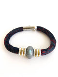 Custom Fabric Bracelet with Semi-Precious Stone: JANICE STYLE