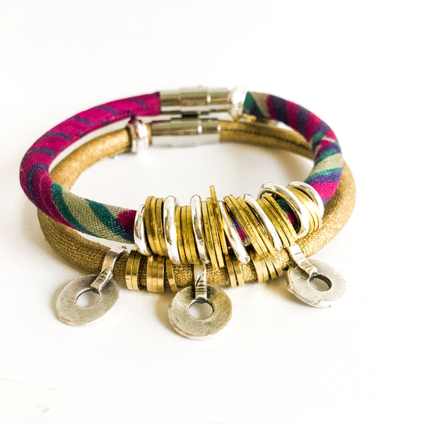 {1 left} Limited Edition Bracelet Set: RACHAEL vintage kimono and coated gold fabric bracelet stack