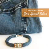 personalized jewelry made from repurposed clothing by Razimus Jewelry memorial jewelry