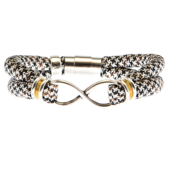 1 OF A KIND SMALL SIZE: JOHANNA bracelet in brown & black houndstooth