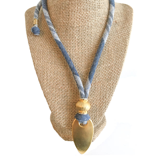 1 OF A KIND Necklace: adjustable length organic blue hemp linen