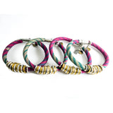{2 left} Limited Edition Bracelet Set: RACHAEL vintage kimono and coated gold fabric bracelet stack