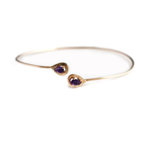 Gold Plated Bangle with Amethyst