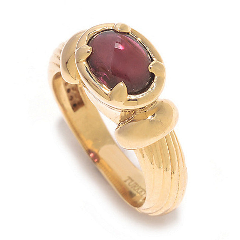 Textured Band Ring with Garnet
