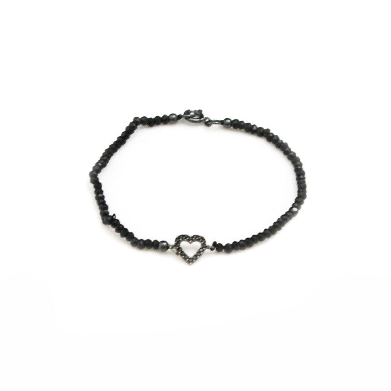 Heart Black Spinel Bracelet