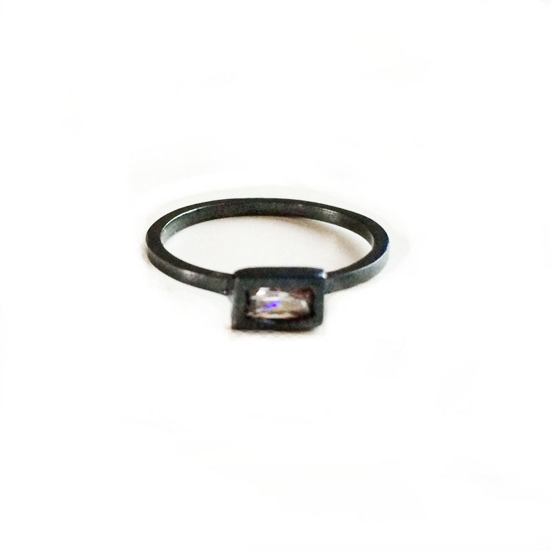 Oxidized Zircon Rectangle Ring