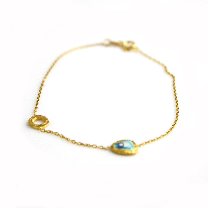 Gold Chain Bracelet with Blue Evil Eye
