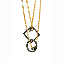 Square and Circle Black and Gold Pendant