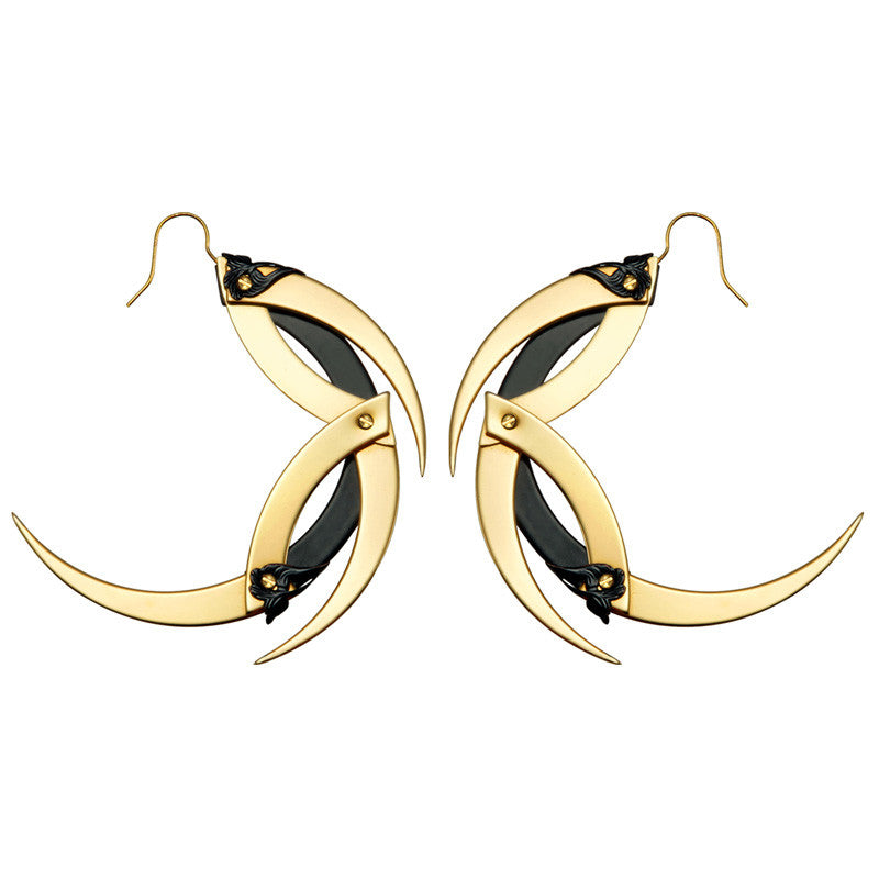 Gold And Black Dragon Moon Hoop Earrings