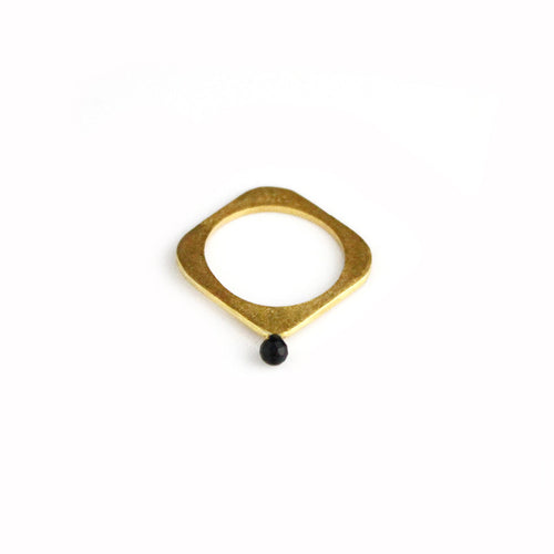 Square Gold Plated Ring with Black Stone