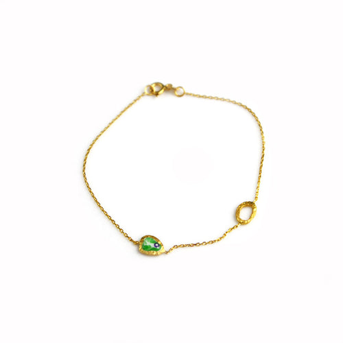 Gold Chain Bracelet with Green Evil Eye
