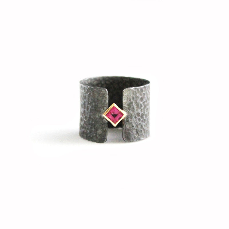 Oxidized Silver Ring with Pink Tourmaline