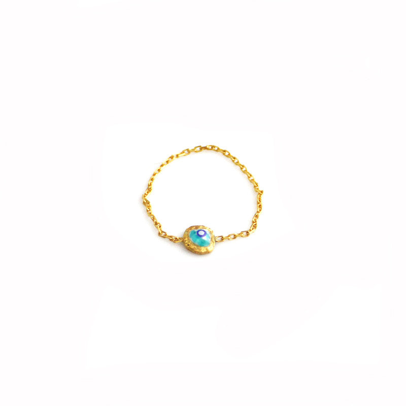 Gold Chain Ring with Evil Eye