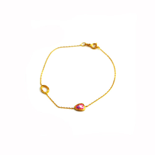 Gold Chain Bracelet with Pink Evil Eye