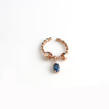 Swaying Blue Topaz Ring with Swarovski Stones