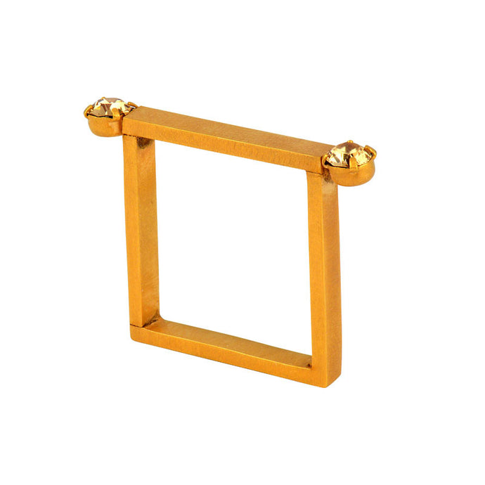 Gold Plated Square Ring with Swarovski