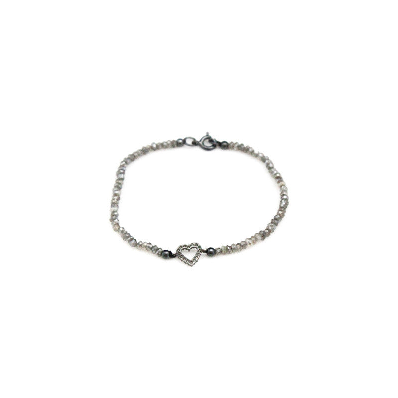 Clear Heart Gray Spinel Bracelet
