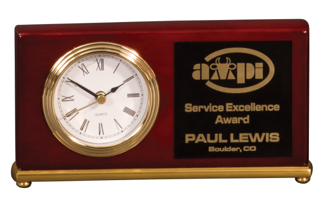 Rosewood Desk Clock Award