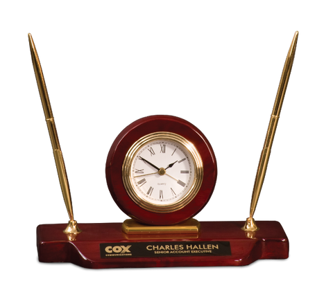 Rosewood Piano Finish Desk Clock Pen Set