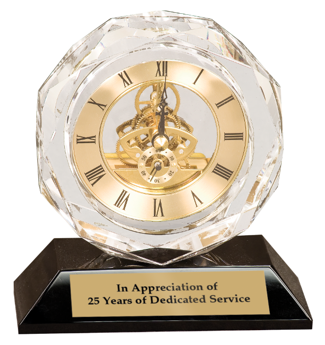 Crystal Desk Clock With Base Award