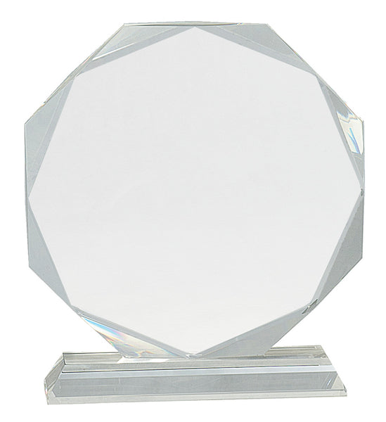 "8"" Clear Crystal Octagon Award on Clear Pedastal Base"