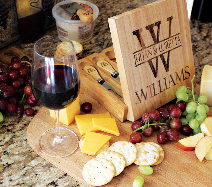 Custom Engraved Bamboo Wood Cheese Serving Set