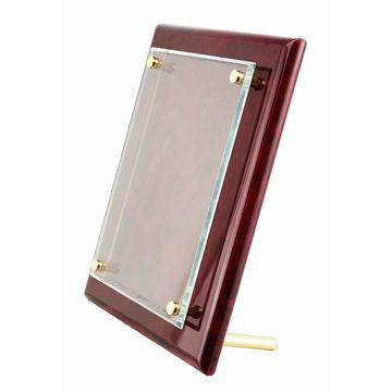 "9"" x 12"" Rosewood Piano Finish Floating Glass Plaque"