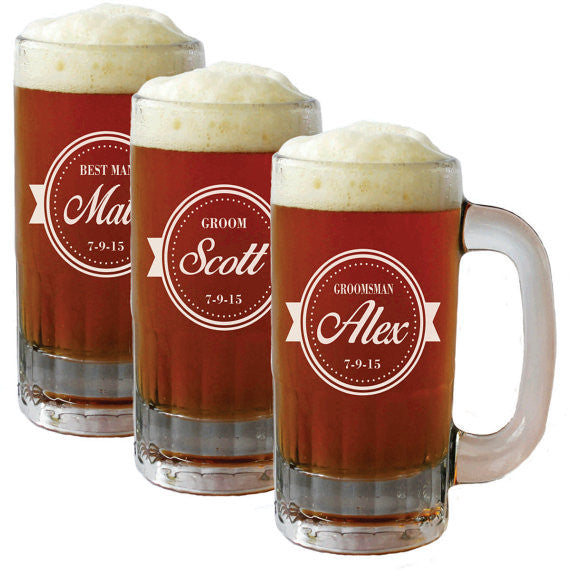 Custom Etched Beer Mugs - Wedding or other event