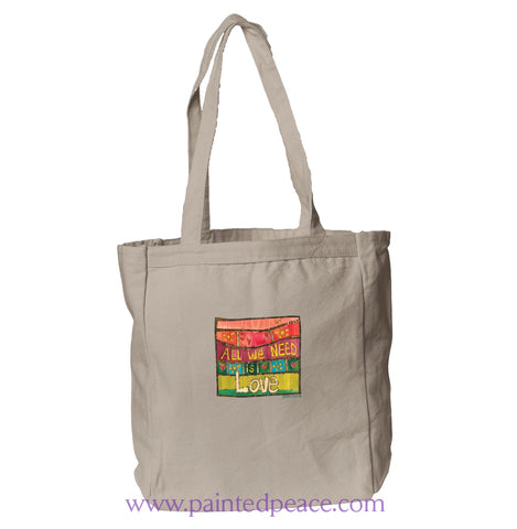 All We Need Is Love Heartful Peace Book Tote One Size / Natural Tote Bag